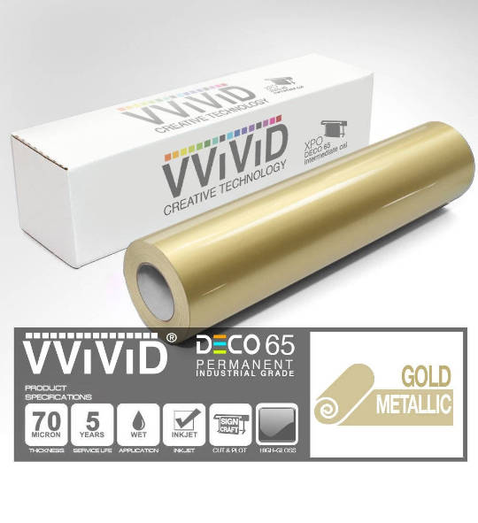 Gold Metallic Gloss – Contact Paper Vinyl Permanant Film - For Cricut, Silhouette & Cameo Contact Paper Vinyl - VViViD DECO65