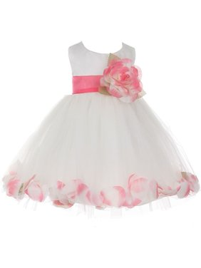 bfe49095f9 Product Image Baby Girls Ivory Coral Petal Adorned Satin Tulle Flower Girl  Dress 6-24M