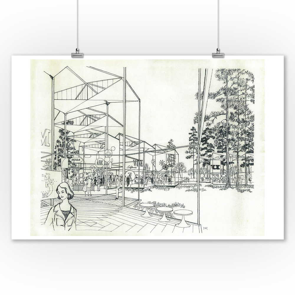Space Needle Concept Drawing - Exterior (9x12 Art Print, Wall Decor Travel Poster)