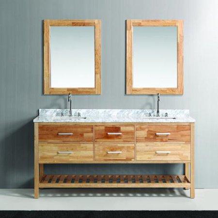 Design element london 72 inch oak finish double sink for Design element marcos solid wood double sink bathroom vanity