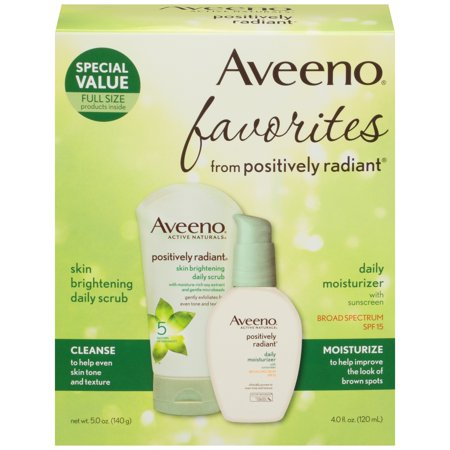 Aveeno Positively Radiant Gift Set, Face Scrub & Moisturizer, Set of 2 Aveeno Skin Brightening Daily Moisturizer