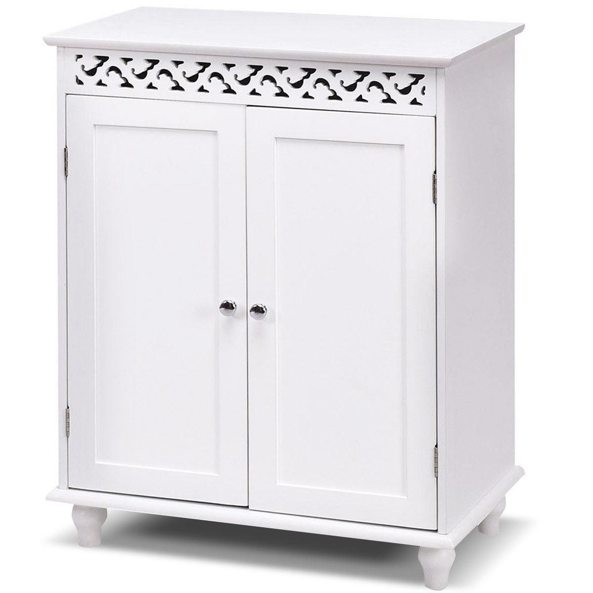 Bathroom Cabinet Storage Shelves gymax white wooden 2 door bathroom cabinet storage cupboard 2