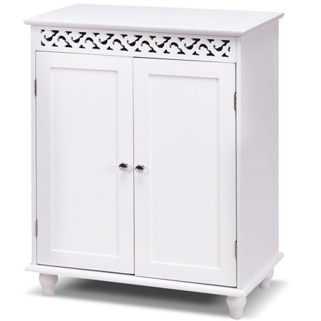 - Gymax White Wooden 2 Door Bathroom Cabinet Storage Cupboard 2 Shelves Free Standing