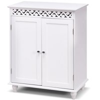 Product Image Gymax White Wooden 2 Door Bathroom Cabinet Storage Cupboard Shelves Free Standing