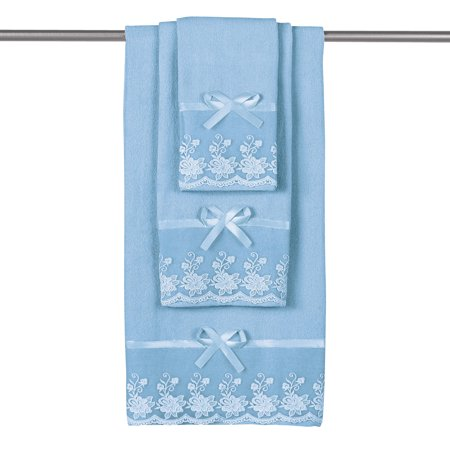 Hand Towel Washcloth (Lace Trim Decorative Display Towel Set with Ribbon Bows, 3-Piece Set with Bath Towel, Hand Towel & Washcloth,)