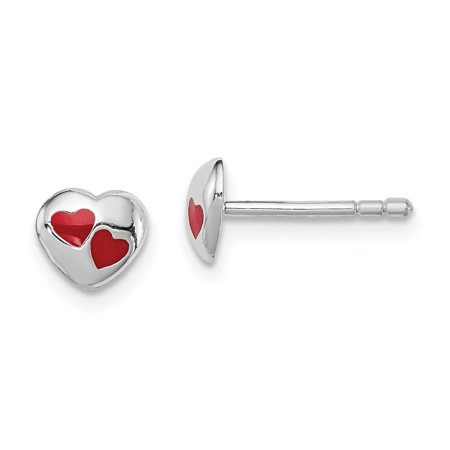 925 Sterling Silver Childs Red Enameled Heart Post Stud Earrings Love For Women