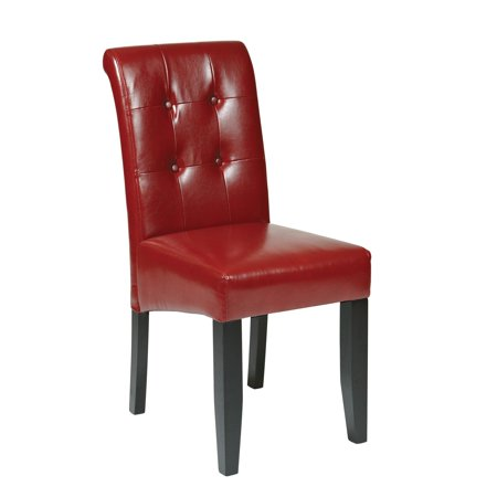 Parsons Tufted Button-Back Chair, Crimson Red (Red Parson Chair)