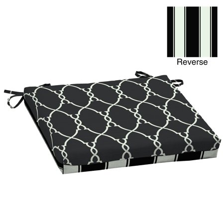 Better Homes & Gardens Black Trellis 20 x 20 in. Outdoor Dining Seat Pad with EnviroGuard ()