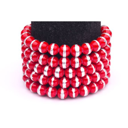 Red And White Silver Foiled Glass Pearls 8mm Round Sold per pkg of