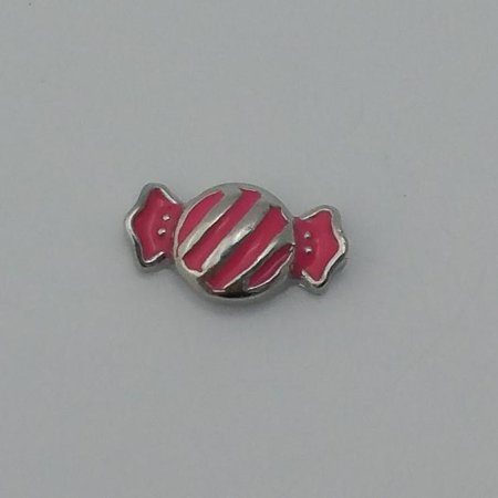 1 PC - Pink Candy Enamel Silver Charm for Floating Locket F0438](Floating Charm)