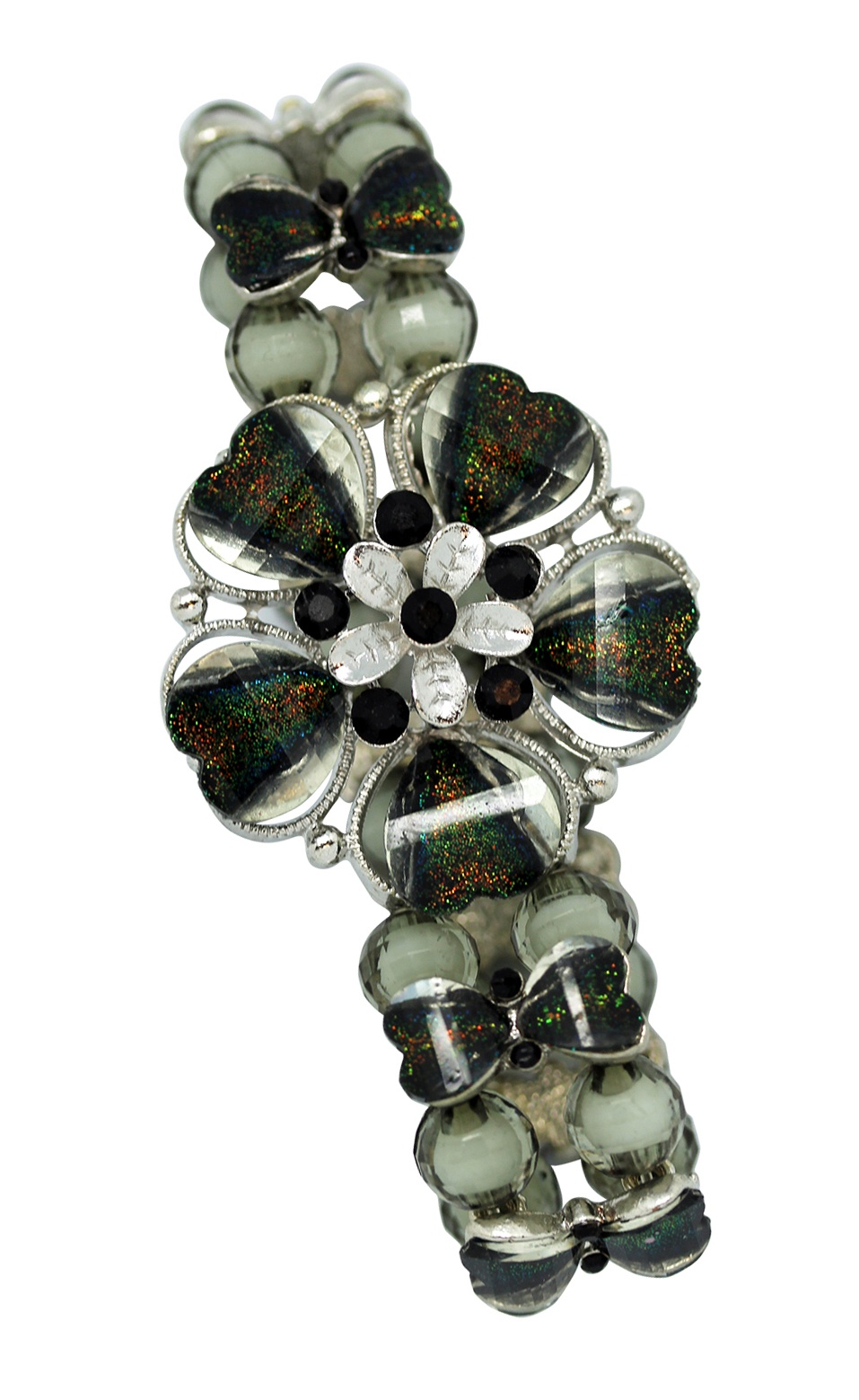 Colorful Black Opal Flower Charm Blossom Layered Bead Stretchy Bracelet by