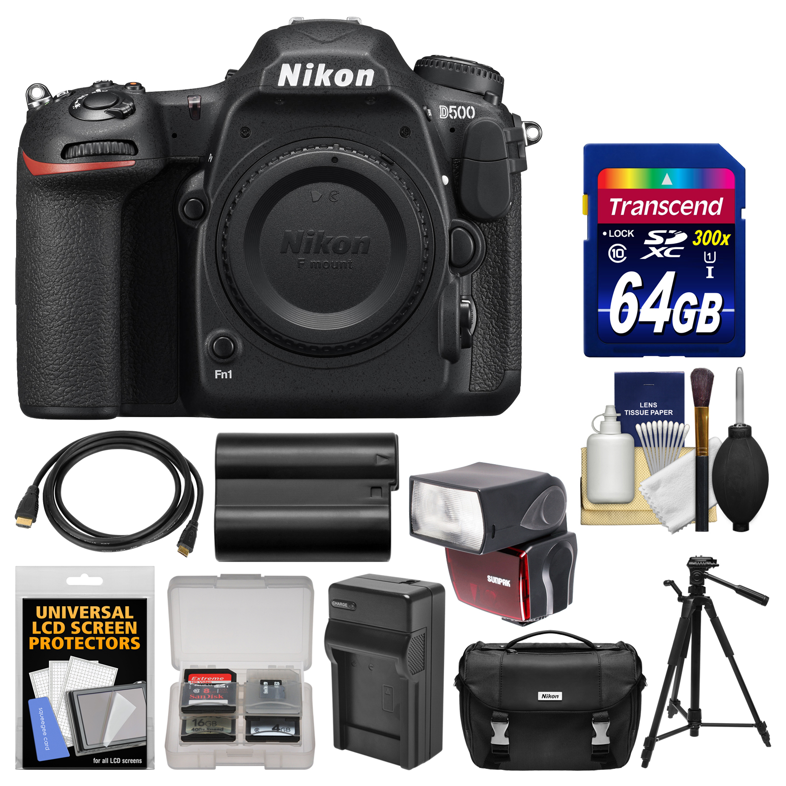 Nikon D500 Wi-Fi 4K Digital SLR Camera Body with 64GB Card + Case + Flash + Battery & Charger + Tripod + Kit