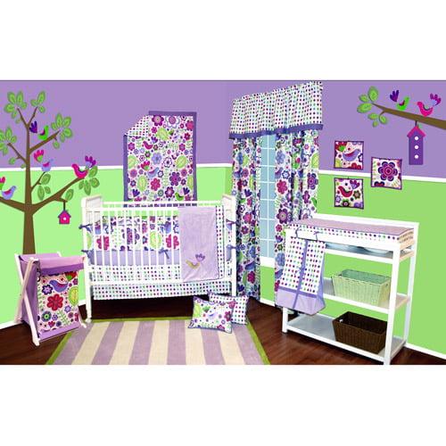 Bacati - Botanical 10pc Bumper-Free Nursery in a Bag Bedding Set, Purple