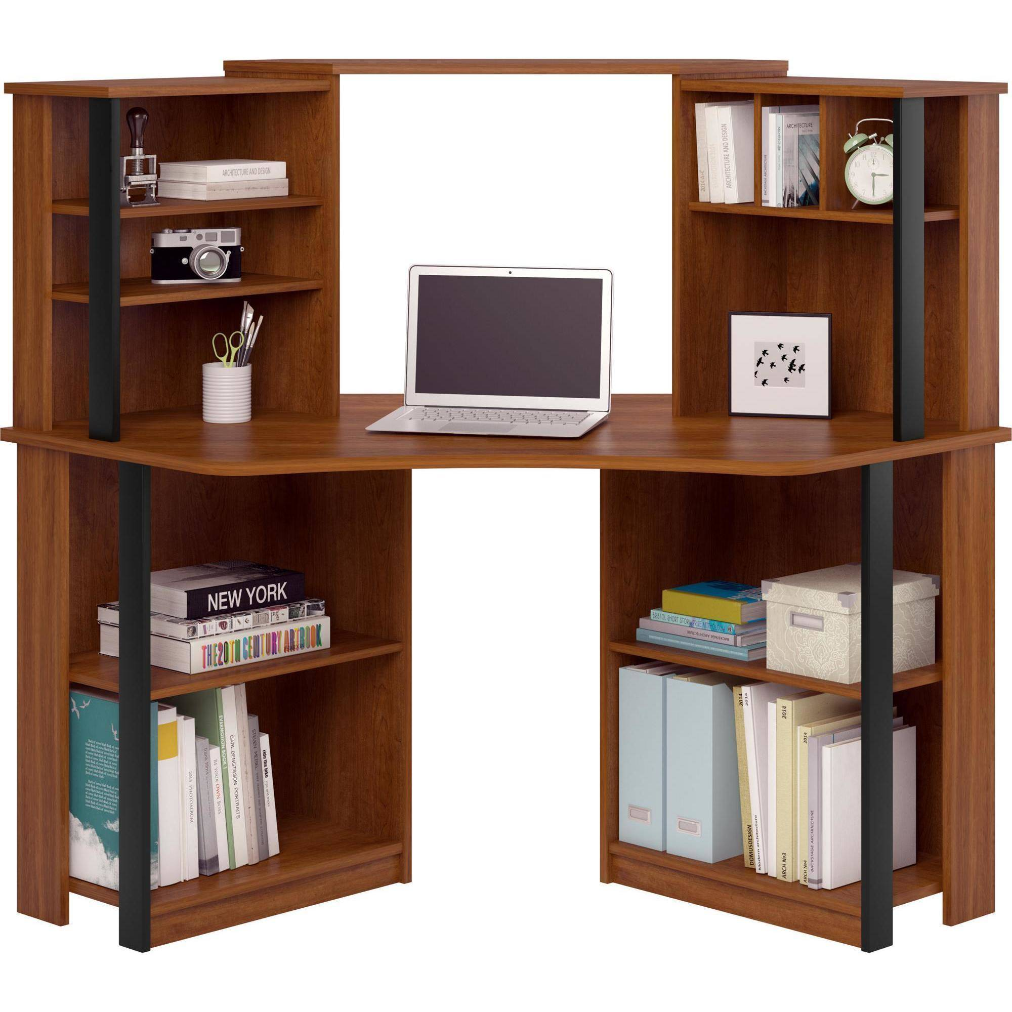 Mainstays Corner Work Station, Inspire Cherry/Black Finish