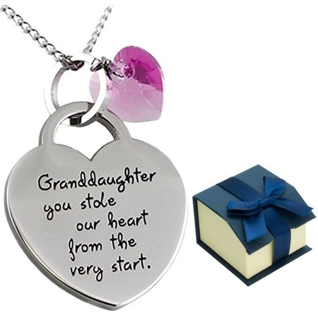 Granddaughter Jewelry Necklace Gifts - ''Granddaughter You Stole Our Heart'' Keepsake Sentimental Heart Necklace for Christmas, Birthday Present Stocking Stuffers for Little Girls (purple) ()