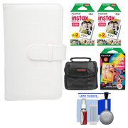 Fujifilm Instax Mini Wallet 108 Photo Album (White) with 40 Color Prints & 10 Rainbow Prints + Case + Kit for 7S, 8, 25, 50S, 90 Cameras