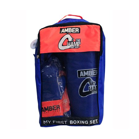 """Amber Fight Gear Mini Boxing Toy Set Junior For 3 to 7yr olds Set Includes - 16"""" Toy Heavy bag, Junior Gloves, Toy Headgear and Jump Rope in a Handy Storage Bag. Great Gift Idea - Blow Up Boxing Gloves"""