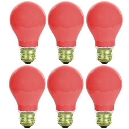 Sunlite Incandescent 60 Watt A19 Red Ceramic  Light Bulb 6 Pack