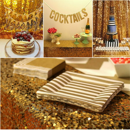 Tryandtry 100*150cm Rectangular Sequin Tablecloth Glitter Gold Sequin Table Cloth