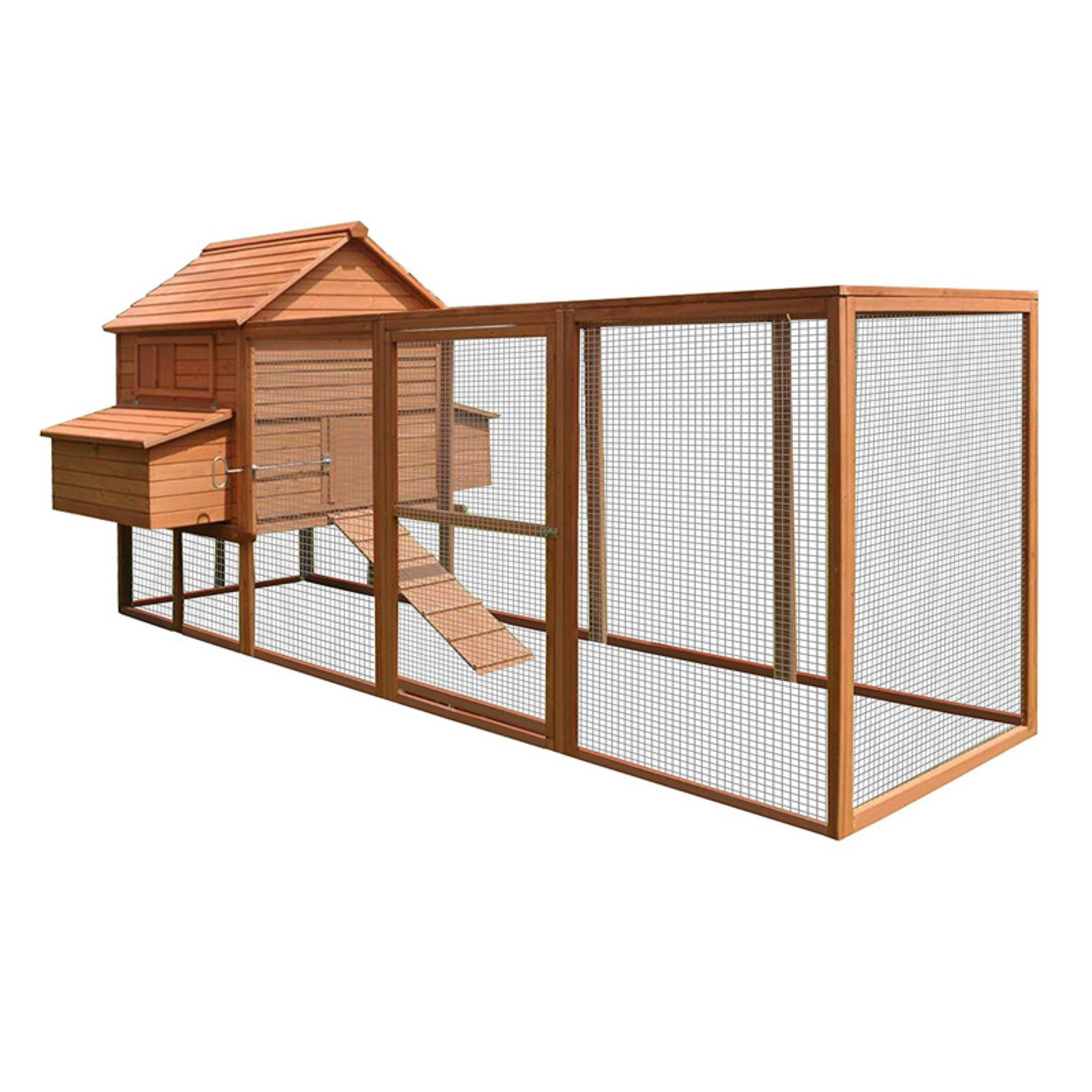 "ALEKO DXH1000RD Spacious Wooden Pet Coop Cage, 143.7"" x 68.5"" x 66.5"", Red"