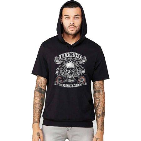 Ride T-shirt Sweatshirt - Men's Lucky 7 Live To Ride Black Short Sleeve Hoodie T-Shirt X-Large Black