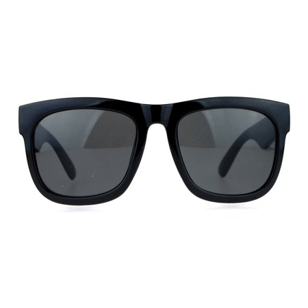 SA106 Mens Hard Minimal Oversize Horn Rim Hipster Sunglasses (Oversized Mens Designer Sunglasses)
