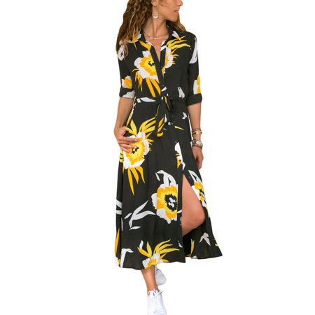 Women Button Through Long Maxi Shirt Dress Casual Loose V Neck Floral Print Boho Holiday Party Pocket Belt Tie Tea Dress