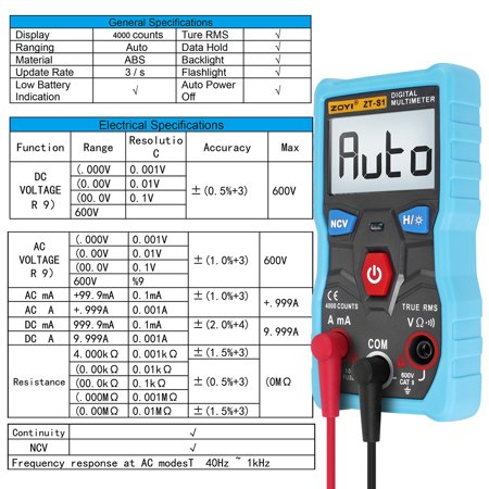 Display Digital Multimeter - Digital Multimeter ZOYI 4000 Word High Precision LCD Display Multimeter Tester