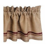 Home Collection by Raghu Burlap Stripe Barn Red and Wheat Valance, 72 by 15.5