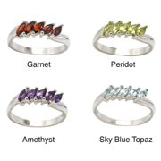 De Buman Genuine Garnet, Peridot, Citrine, Amethyst, Sky Blue Topaz Sterling Silver Ring Amethyst, Ring Size 6.75