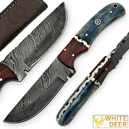White Deer Blue Bunyan Damascus Steel Knife Bison Bone & Hardwood Handle