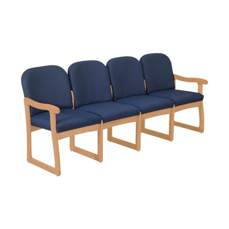 Wooden Mallet Seat Upholstered Sofa Solid Wood Frame Light Oak Blue Arch
