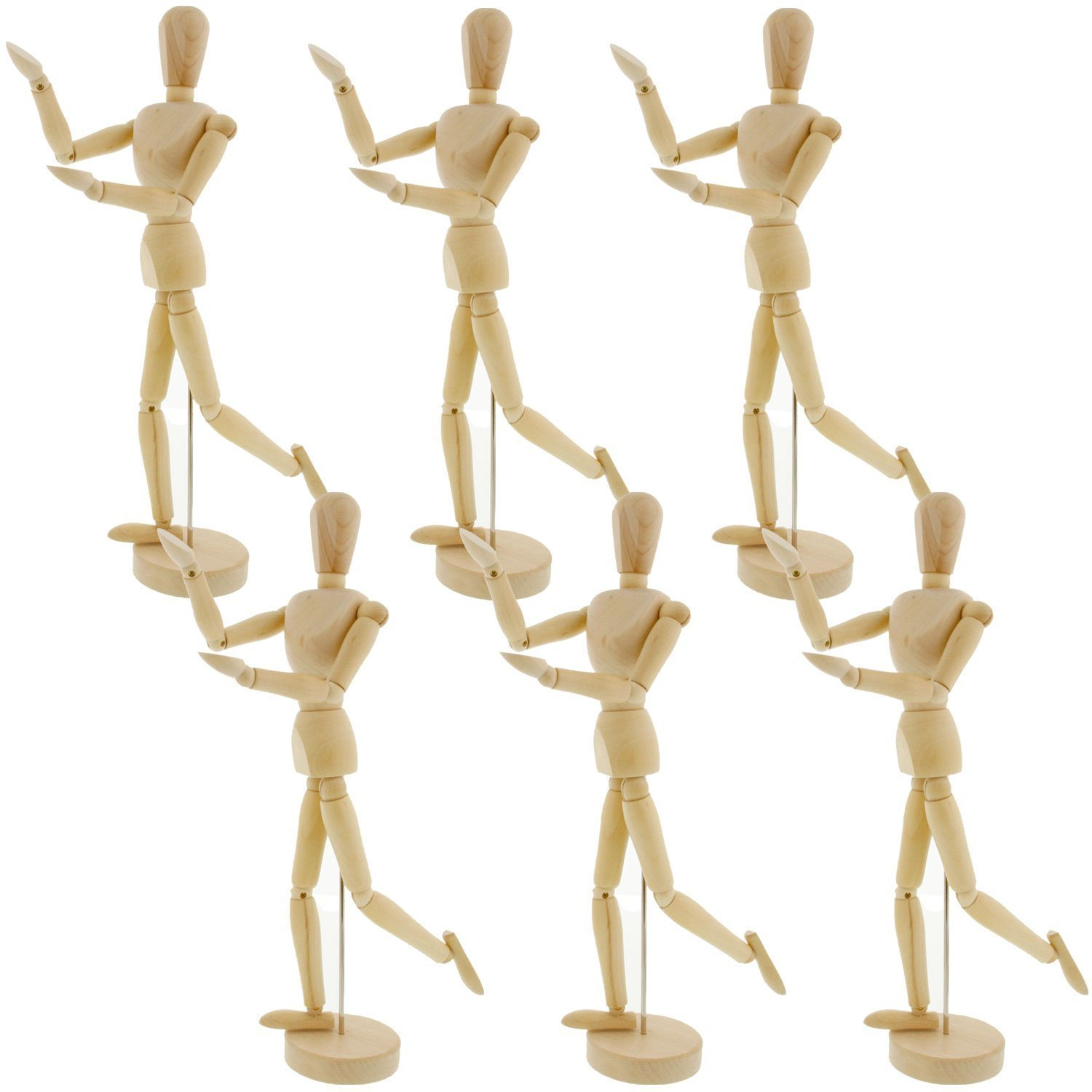 "Pack of 6 US Art Supply Wood 16"" Artist Drawing Manikin A..."