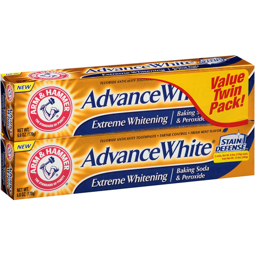 Arm & Hammer Advance White Extreme Whitening Baking Soda and Peroxide Toothpaste, 6 Oz, Twin Pack