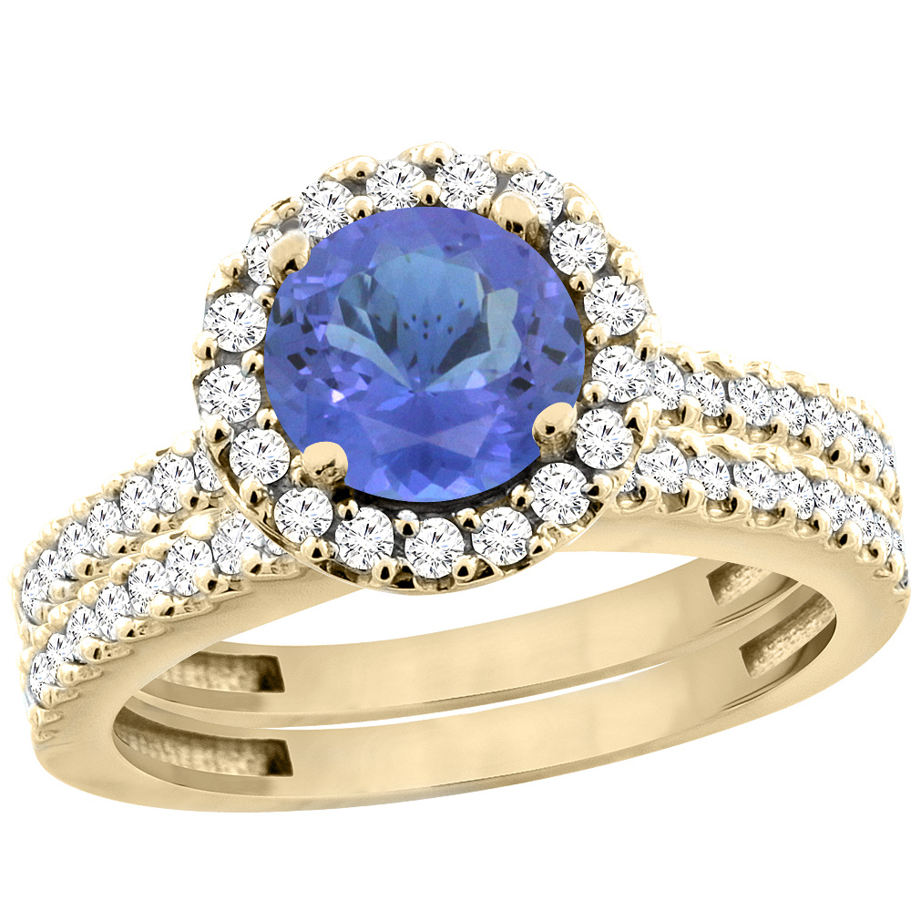 10K Yellow Gold Natural Tanzanite Round 6mm 2-Piece Engagement Ring Set Floating Halo Diamond, size 5 by Gabriella Gold