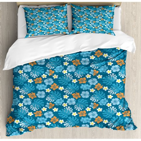 Luau Queen Size Duvet Cover Set, Tropical Plants Pattern with Swiss Cheese Plants and Exotic Flowers Growth Image, Decorative 3 Piece Bedding Set with 2 Pillow Shams, Blue Marigold, by Ambesonne ()