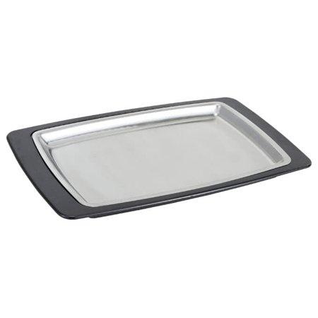 (Winco SIZ-11BST, 11 x 7-Inch Sizzle Platter Set, Rectangular, Stainless Steel with Bakelite Underliner)
