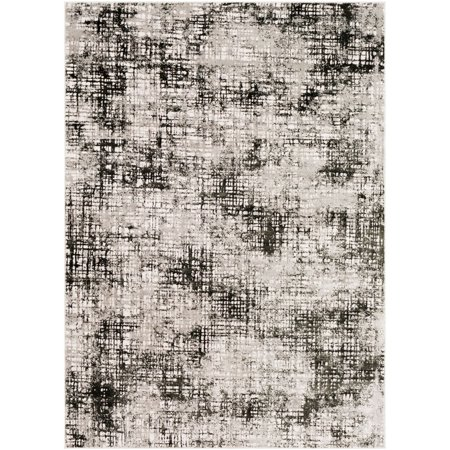 3.9' x 5.5' Crosshatch Patterned Black and Gray Rectangular Area Throw Rug