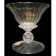 """Set of 2 Mouth Blown Scallop Embossed Egyptian Crystal Votive Candle Holder 5"""""""