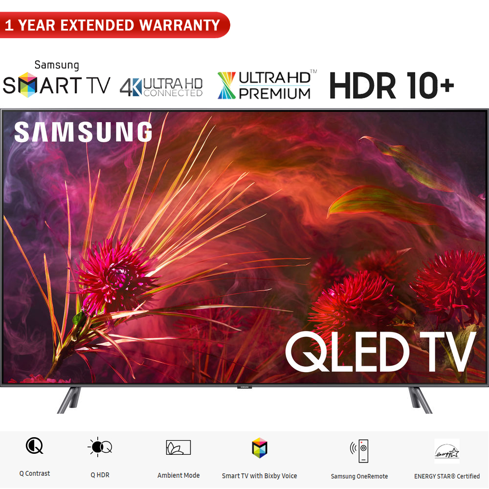 """Samsung QN75Q8FNB 75"""" Q8FN QN75Q8FNBFXZA QLED Smart 4K UHD TV (2018 Model) - (Certified Refurbished) with 1 Year Extended Warranty"""