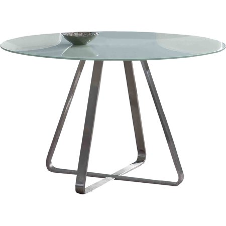 (ARMEN LIVING Cameo Modern Dining Table, Stainless Steel With Painted Glass Top)