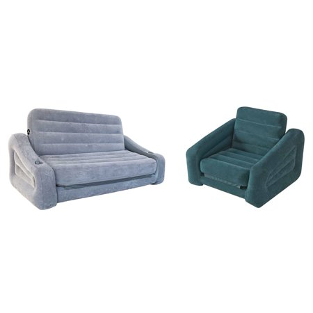 Intex Queen Inflatable Pull-Out Sofa Airbed + Inflatable Pull-Out Chair - Inflatable Air Guitar