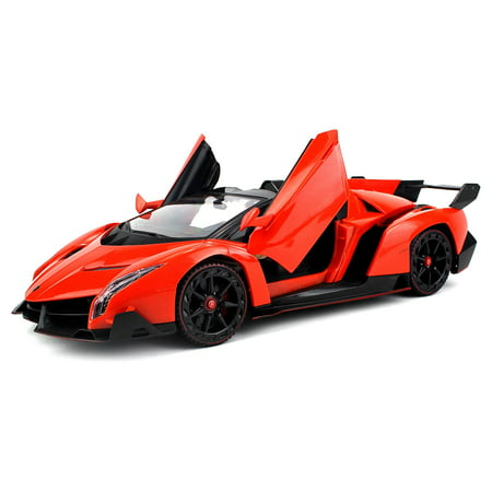 Licensed Lamborghini Veneno Roadster Supercar Remote Control Rc Car Big 1 14 Scale Size W  Joystick Remote  Bright Led Lights  Opening Doors  Detailed Construction  Colors May Vary