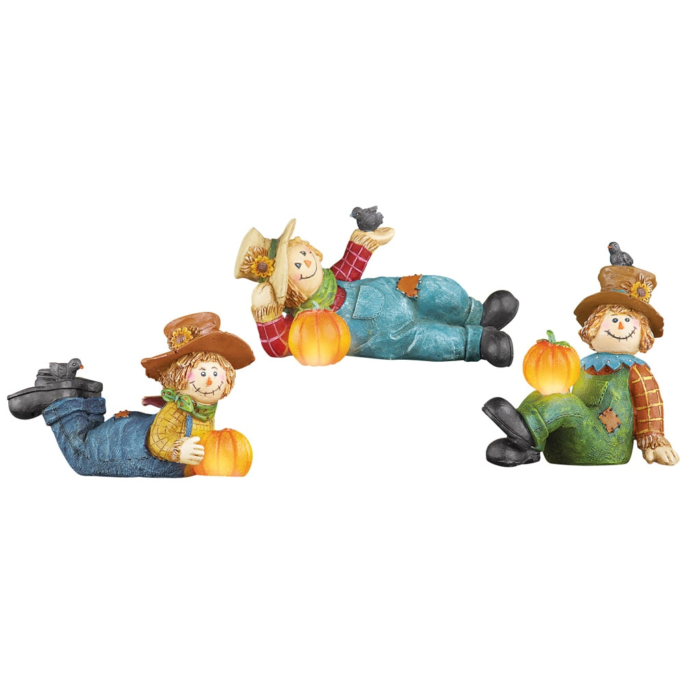 Lighted Fall Scarecrow And Pumpkin Table Decor - Set Of 3