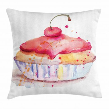 Dessert Throw Pillow Cushion Cover, Ink Splatter Watercolor Illustration of Cherry Sweet Buttercream Frosting Cupcake, Decorative Square Accent Pillow Case, 20 X 20 Inches, Multicolor, by Ambesonne
