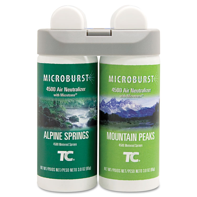 Microburst Duet Refills, Alpine Springs/mountain Peaks, 3oz, 4/carton