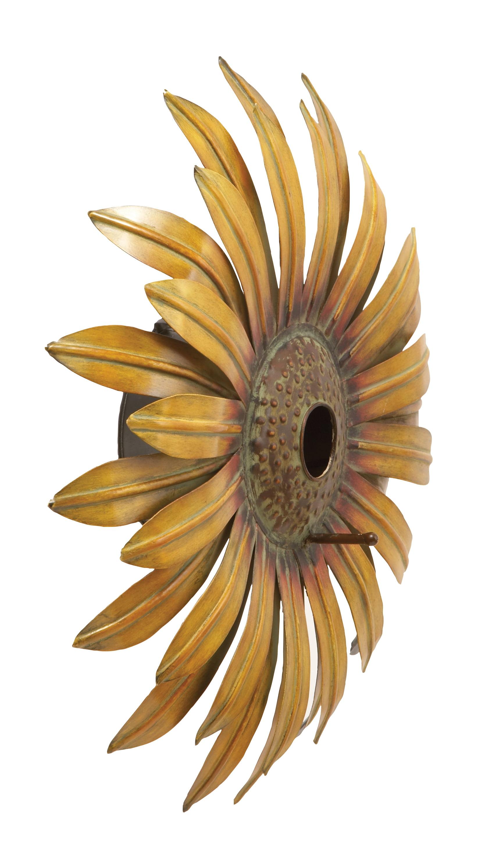 Decmode 16 Inch Modern Yellow Iron Sunflower Birdhouse, Brass Yellow by DecMode