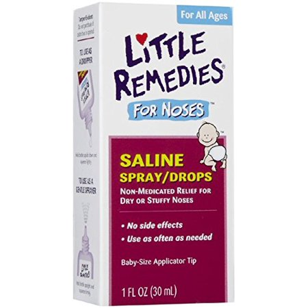 6 Pack Little Remedies Saline Spray/Drops for Dry for Stuffy Noses 1-Ounce 30