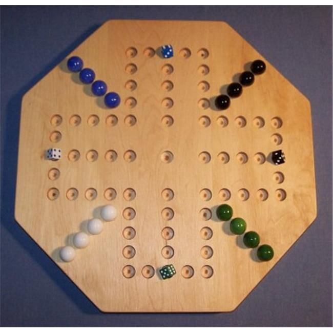 THE PUZZLE-MAN TOYS W-1932 Wooden Marble Game Board - Aggravation - 18 inch Octagon - 4-Player  5-Hole - Hard Maple