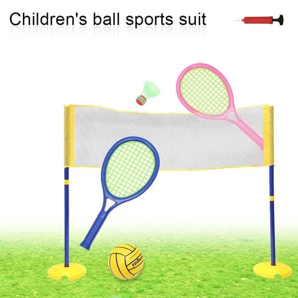 Kids Outdoor Sports Toys Tennis Racket Airpow Badminton and Tennis Play Set Mini Badminton Racket Training Set for Kids Beginner Aged 3+